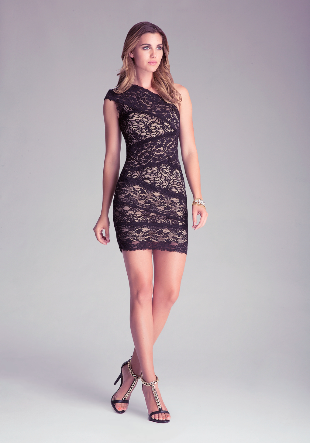 Lyst Bebe Lace One Shoulder Dress In Black