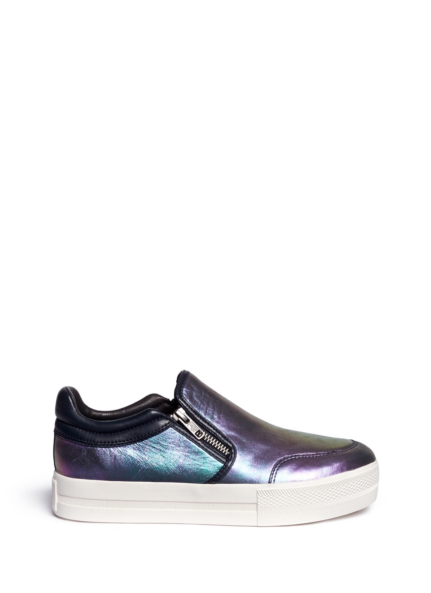 ash jordy zip holographic leather skate slip ons in