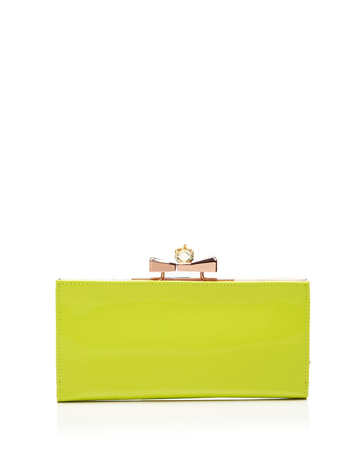 70f47787f013c Lyst - Ted Baker Wallet - Franny Patent Bow Popper Matinee in Green