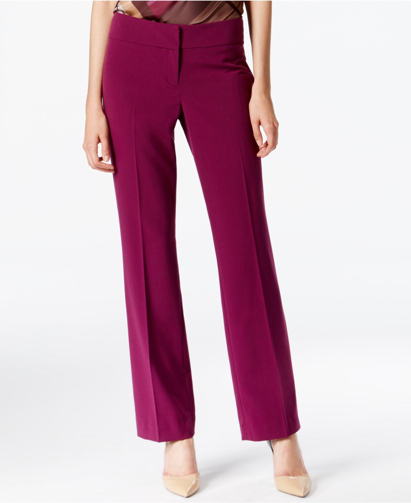 Lyst - Nine West Trouser-leg Flat-front Dress Pants in Purple f0c748dc53