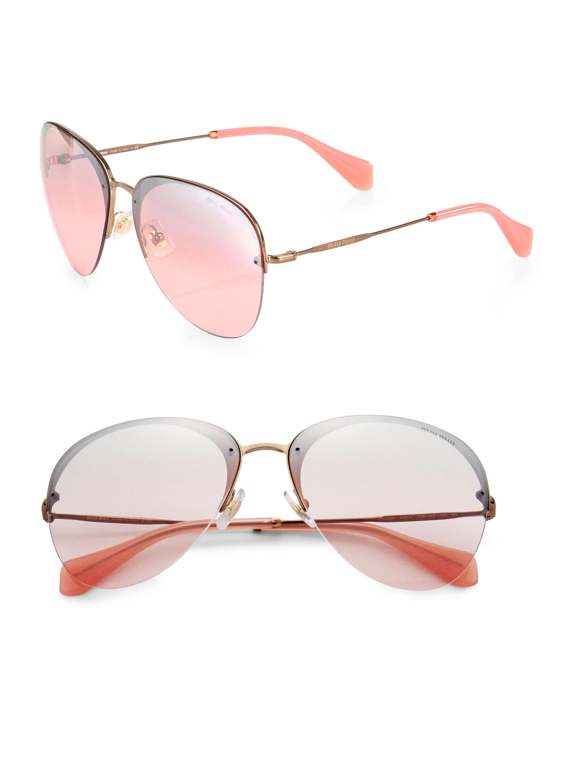 04937ea5d125 Miu Miu Pilot Aviator Sunglasses in Metallic - Lyst