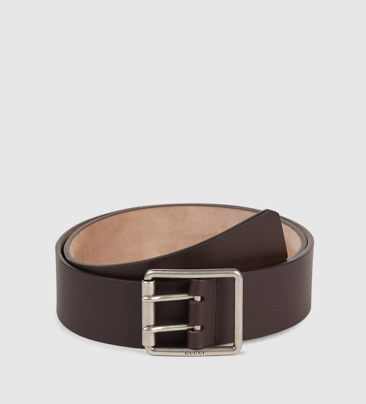 gucci leather belt with prong square buckle in