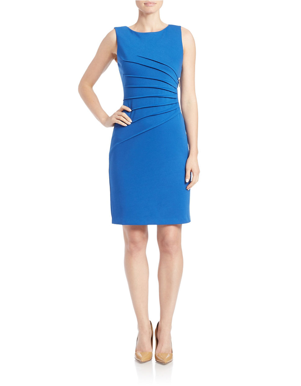 Ivanka Trump Blue Sunburst Side Pleat Dress Lyst