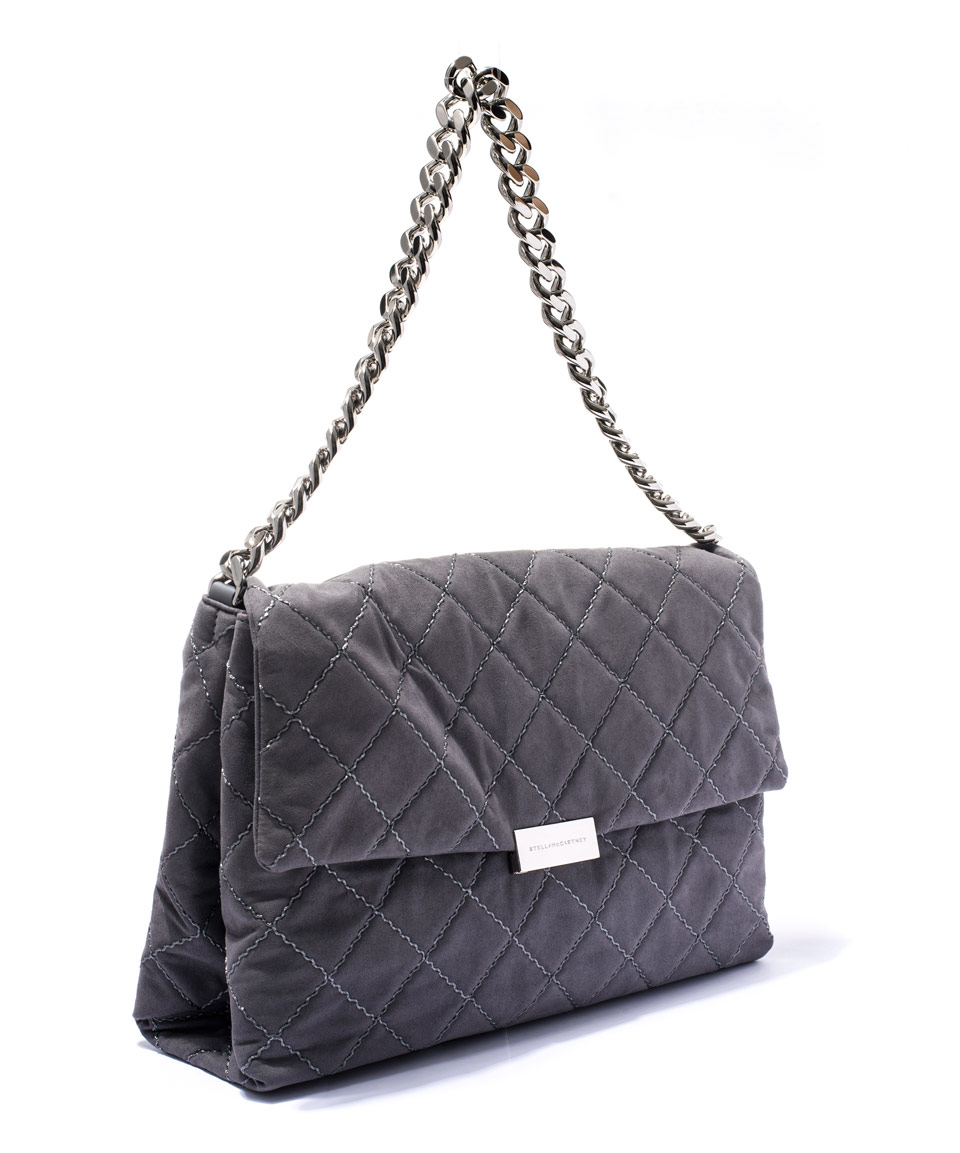 Stella mccartney Grey Soft Beckett Quilted Shoulder Bag in Gray | Lyst