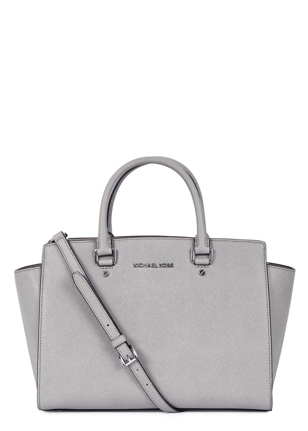 8d0061106990 Michael Kors Selma Large Grey Saffiano Leather Tote in Gray - Lyst