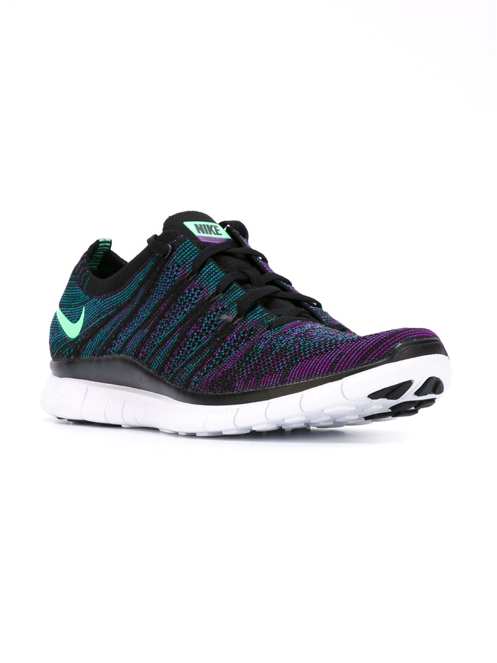 nike 39 free flyknit 39 sneakers in blue for men pink purple lyst. Black Bedroom Furniture Sets. Home Design Ideas