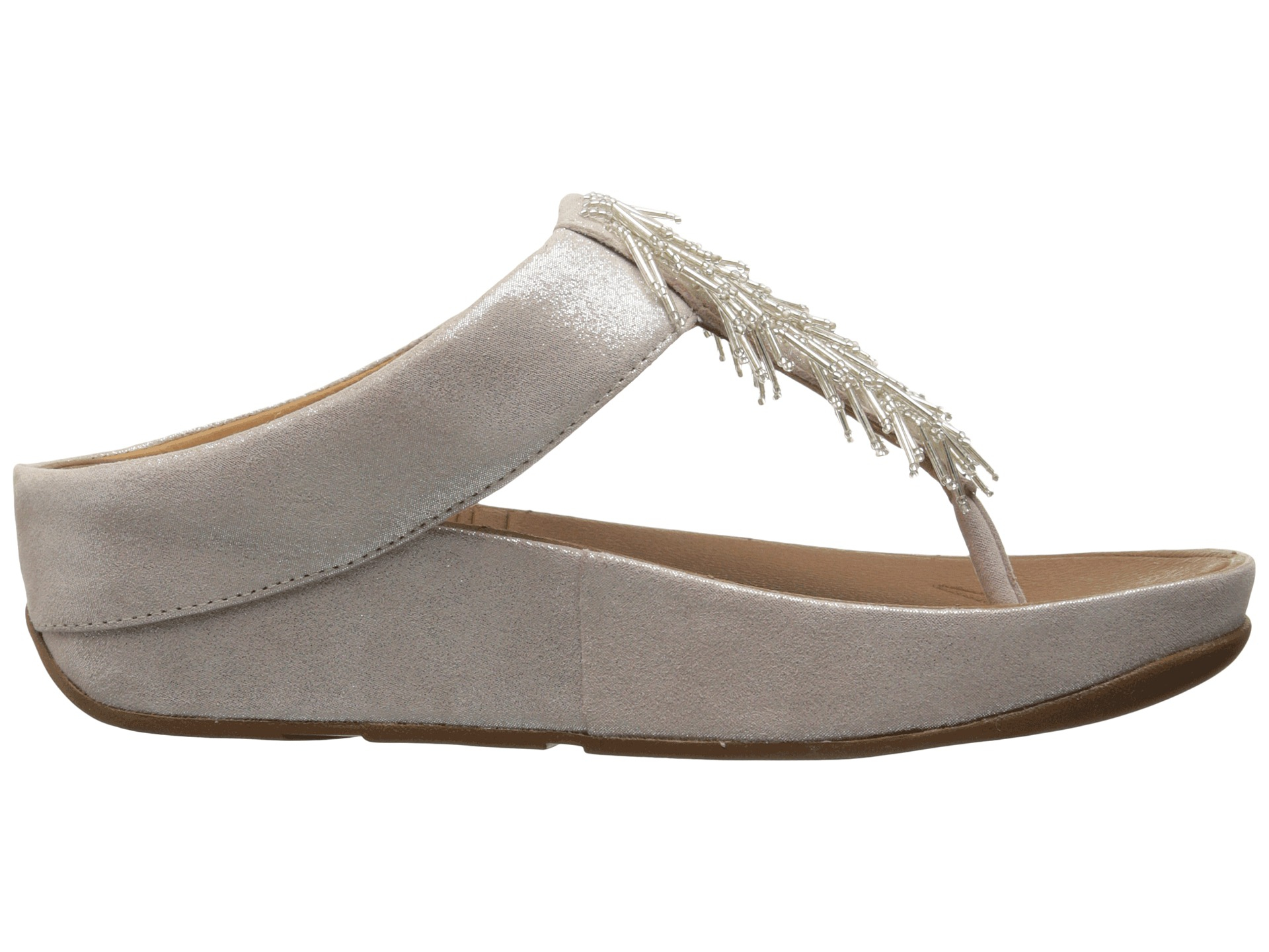 Fitflop Cha Cha Leather Flip Flops In Silver  Lyst-2672