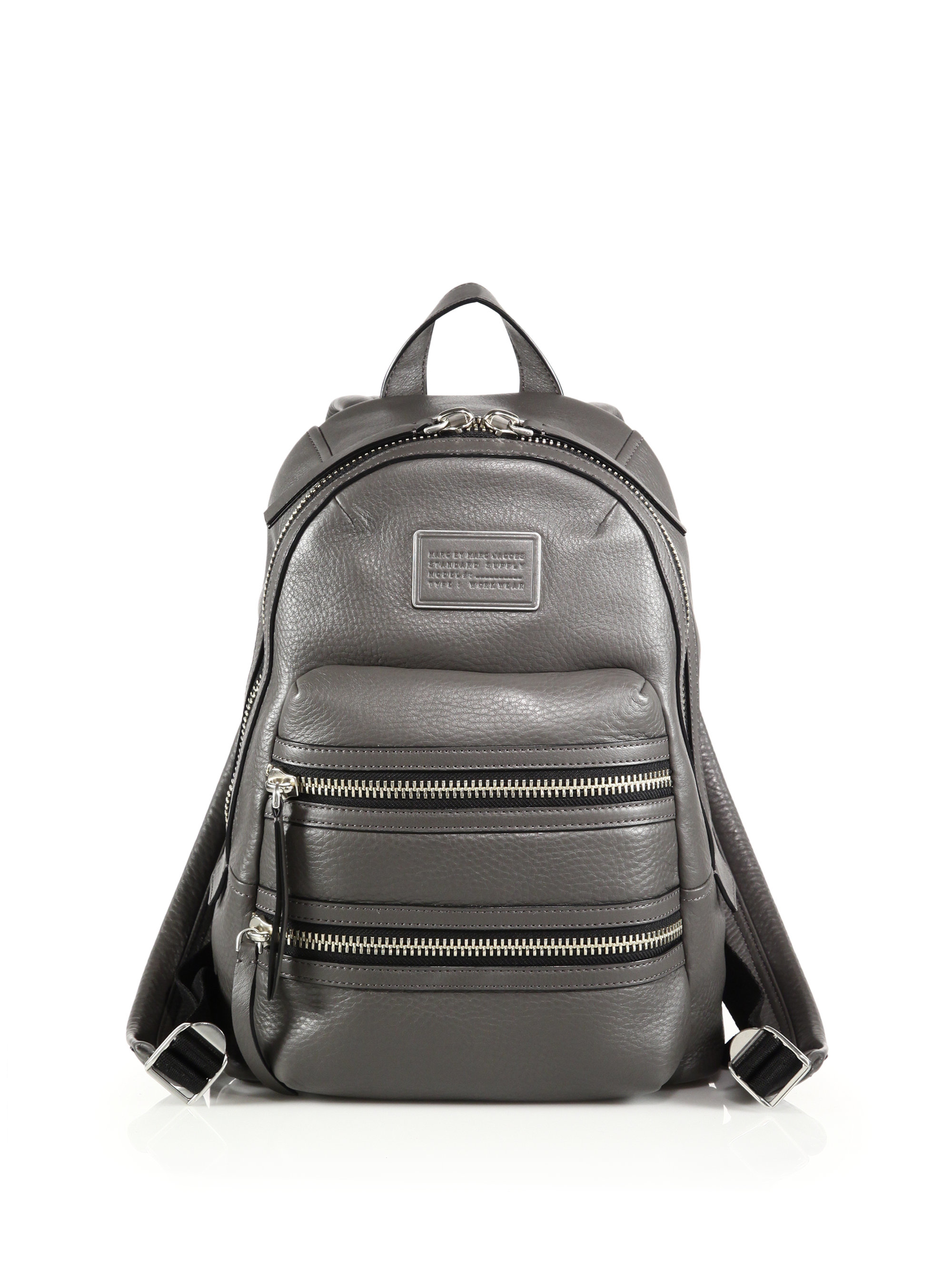 marc by marc jacobs domo leather biker backpack in gray lyst. Black Bedroom Furniture Sets. Home Design Ideas