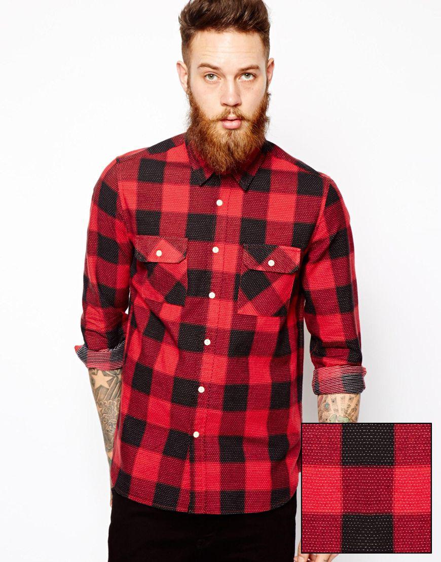 Lyst asos buffalo check shirt in long sleeve with pindot for Pink checkered dress shirt