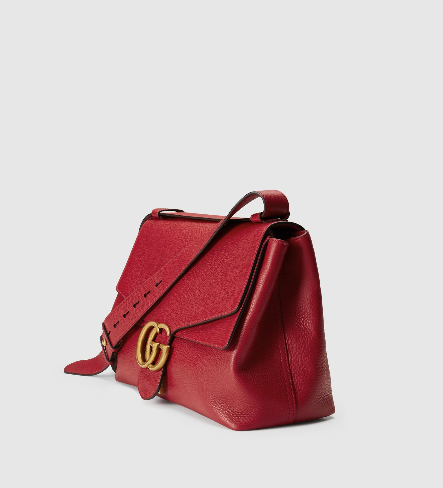 0dc253bad Gucci Gg Marmont Leather Shoulder Bag in Red - Lyst