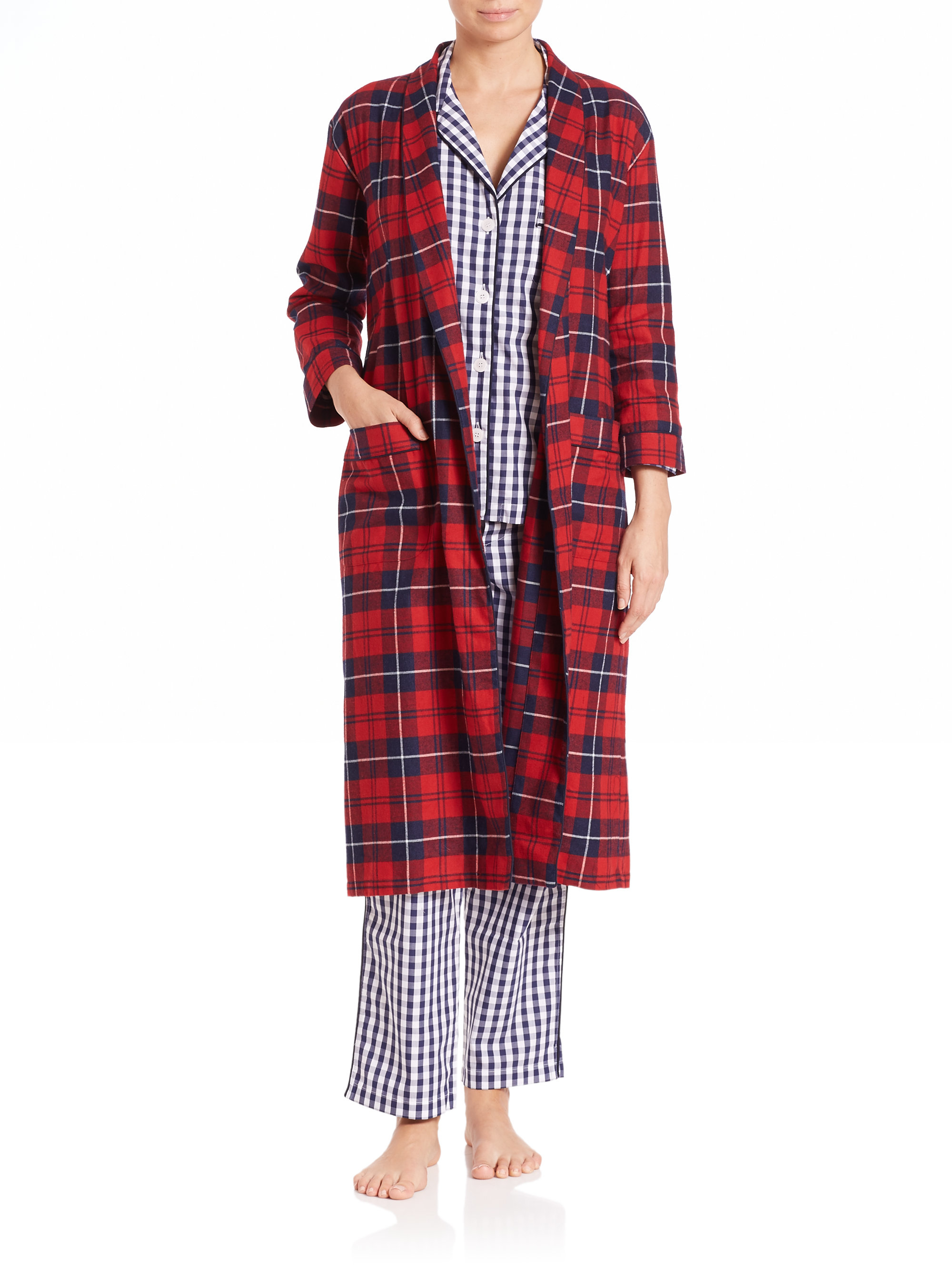 Lyst Sleepy Jones Marianne Long Plaid Flannel Robe In Red