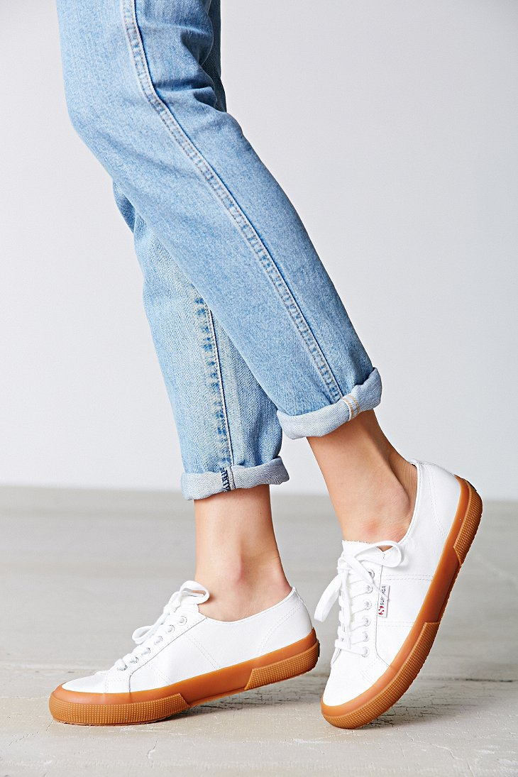 Superga: Superga 2750 Leather Gumsole Low-top Sneaker In White