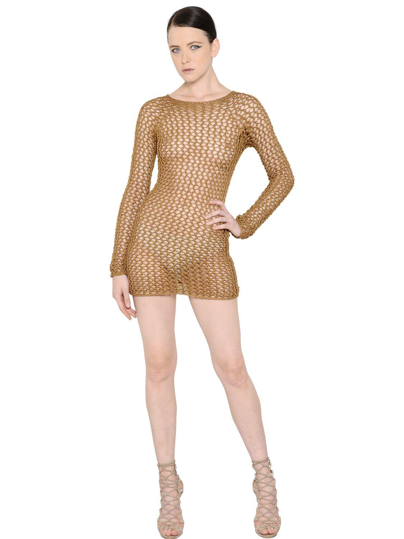 aed3da757 Balmain Open-Knit Cotton Dress in Brown - Lyst