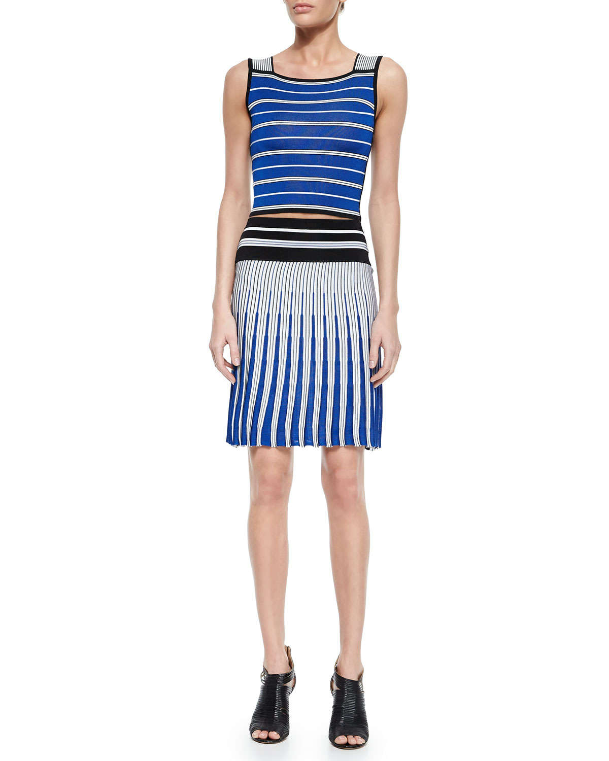 ohne titel vertical striped knit skirt in blue lyst