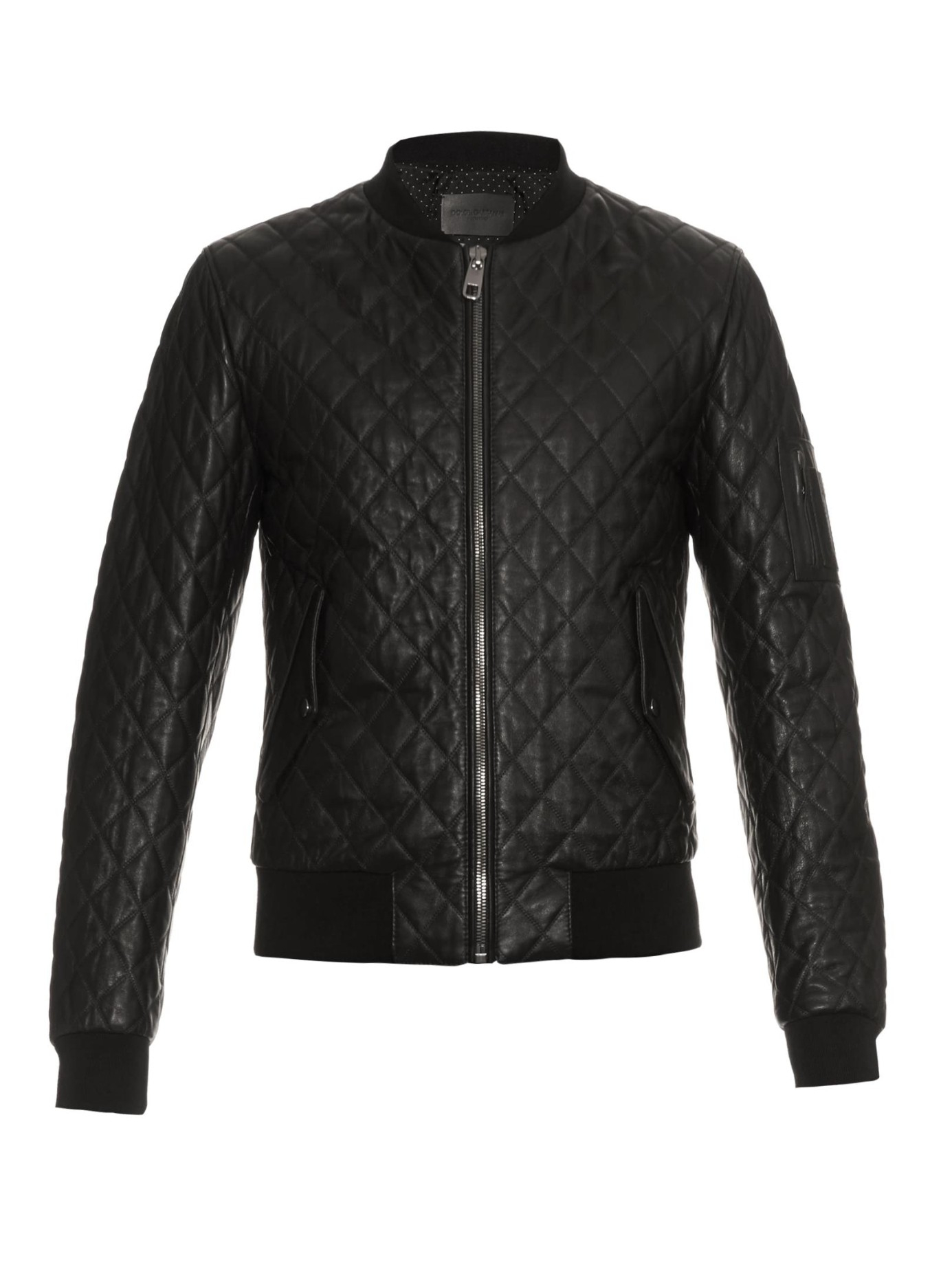 Dolce & gabbana Quilted Leather Bomber Jacket in Black for Men | Lyst