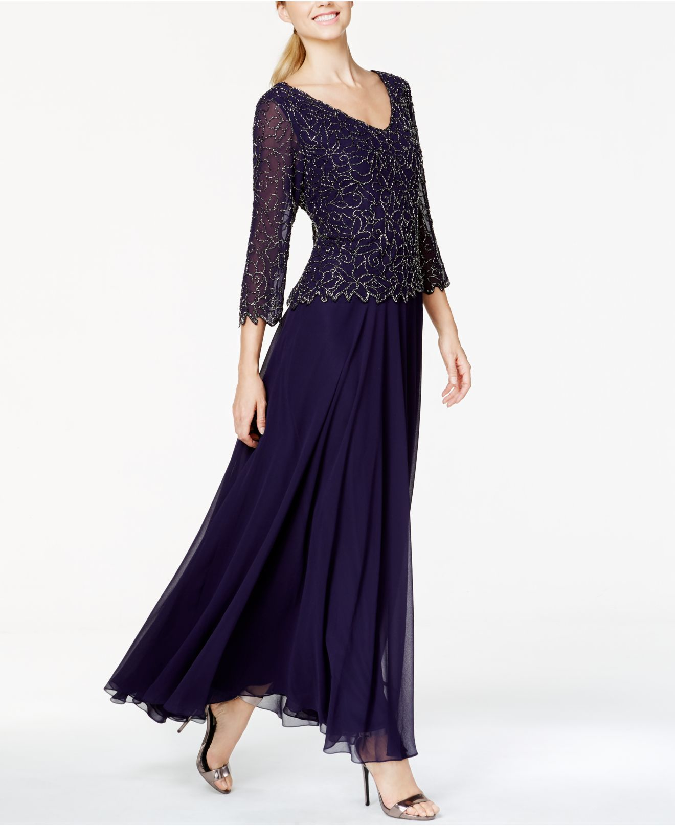 Lyst - J Kara Beaded Popover Gown in Purple