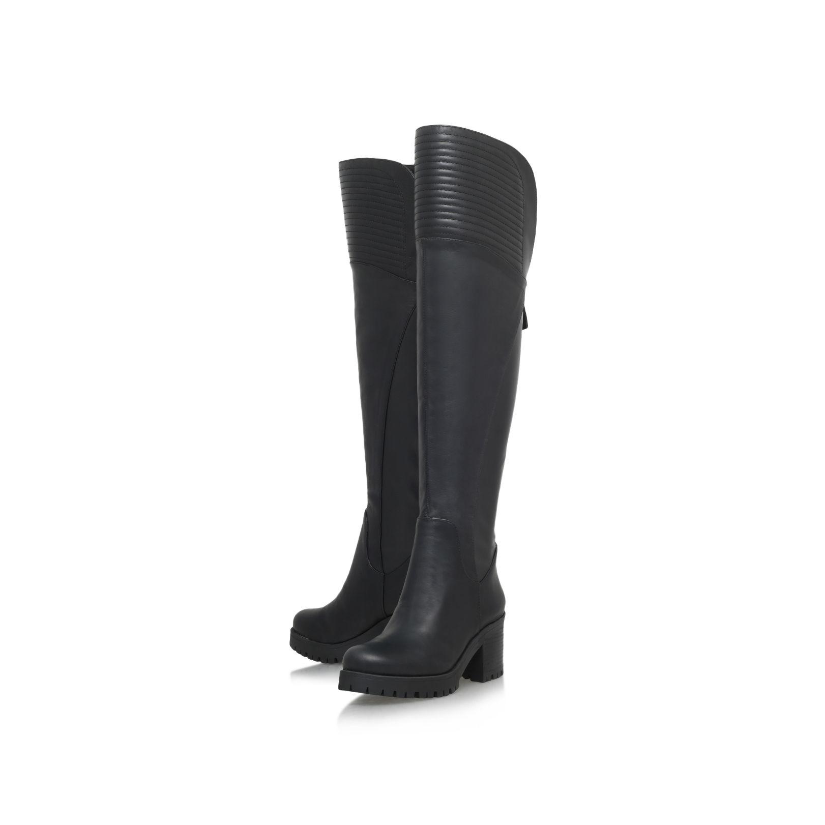 nine west ultraviolet mid heel knee boots in black lyst