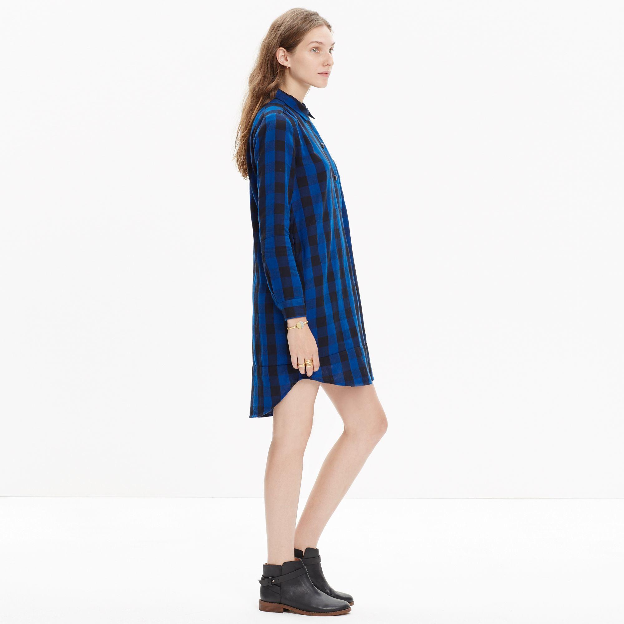 1705bb03e0 Lyst - Madewell Latitude Shirtdress In Buffalo Check in Blue