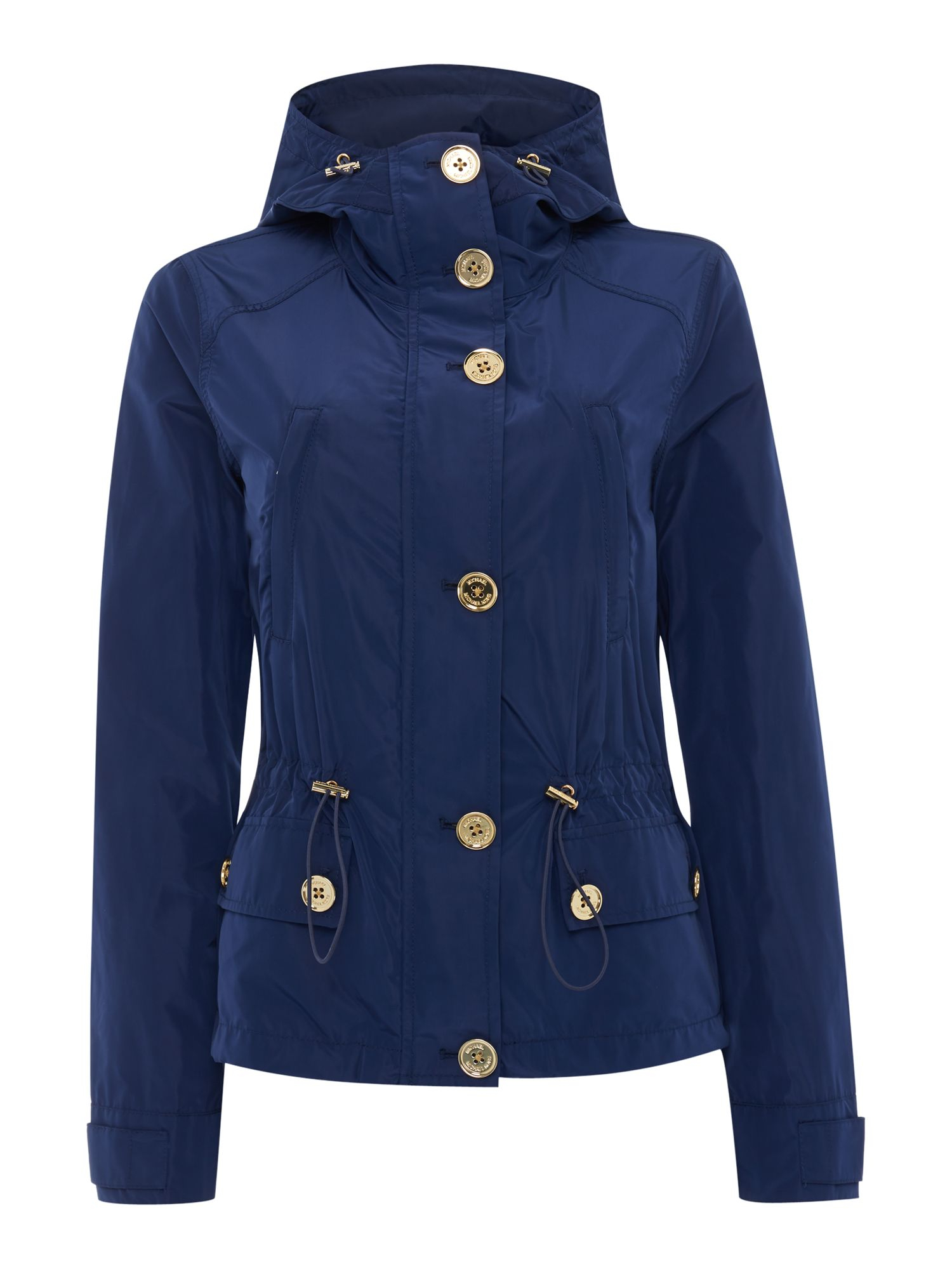 Michael Kors Short Parka Jacket With Gold Buttons In Blue