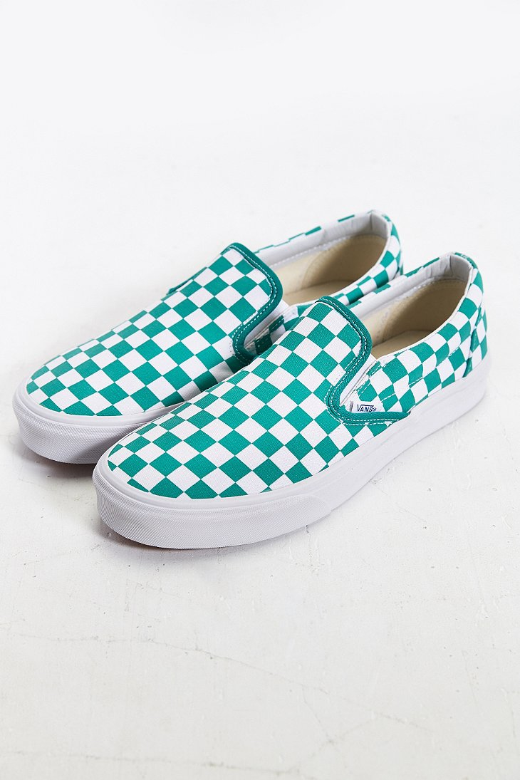 eed58cf859 Vans Classic Checkered Slip-on Sneaker in Blue for Men - Lyst