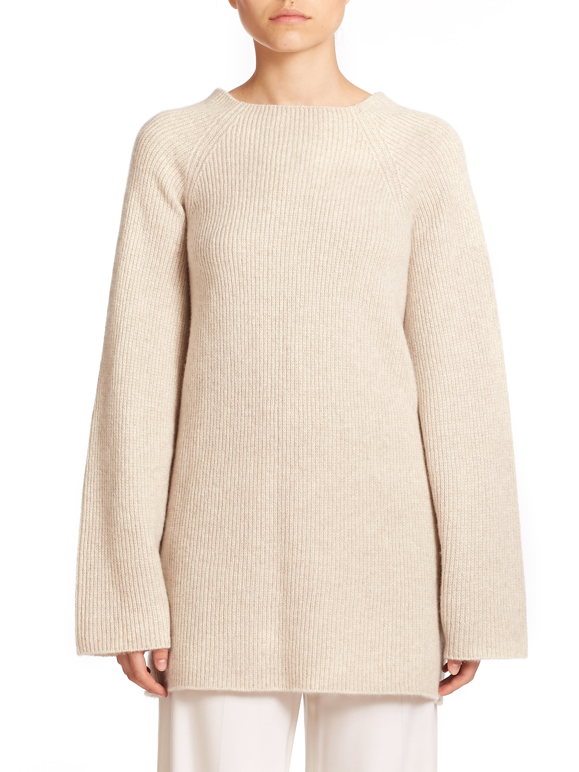 The row Kandel Ribbed Cashmere Sweater in Natural | Lyst