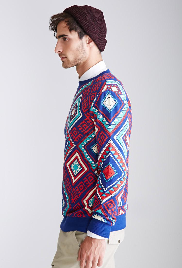 Buy Men's tribal print sweater fleece lined jacket, Up to 3XL at allshop-eqe0tr01.cf