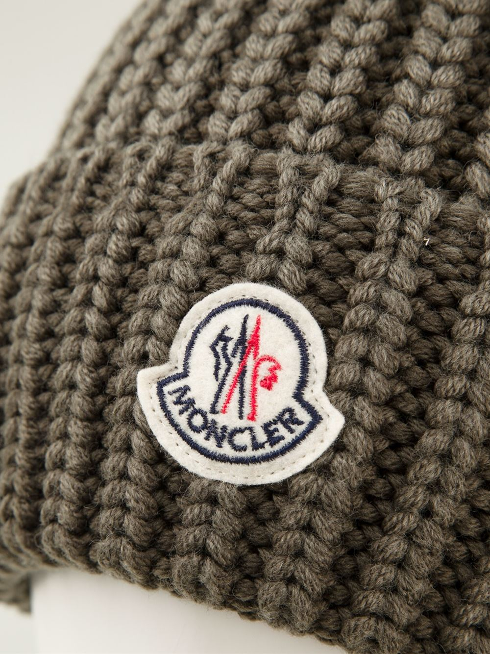 5d5663cb056 Lyst - Moncler Chunky Knit Turn-Up Beanie in Green for Men