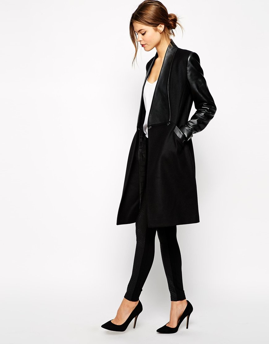 Ted baker Coat with Leather Panel in Black | Lyst