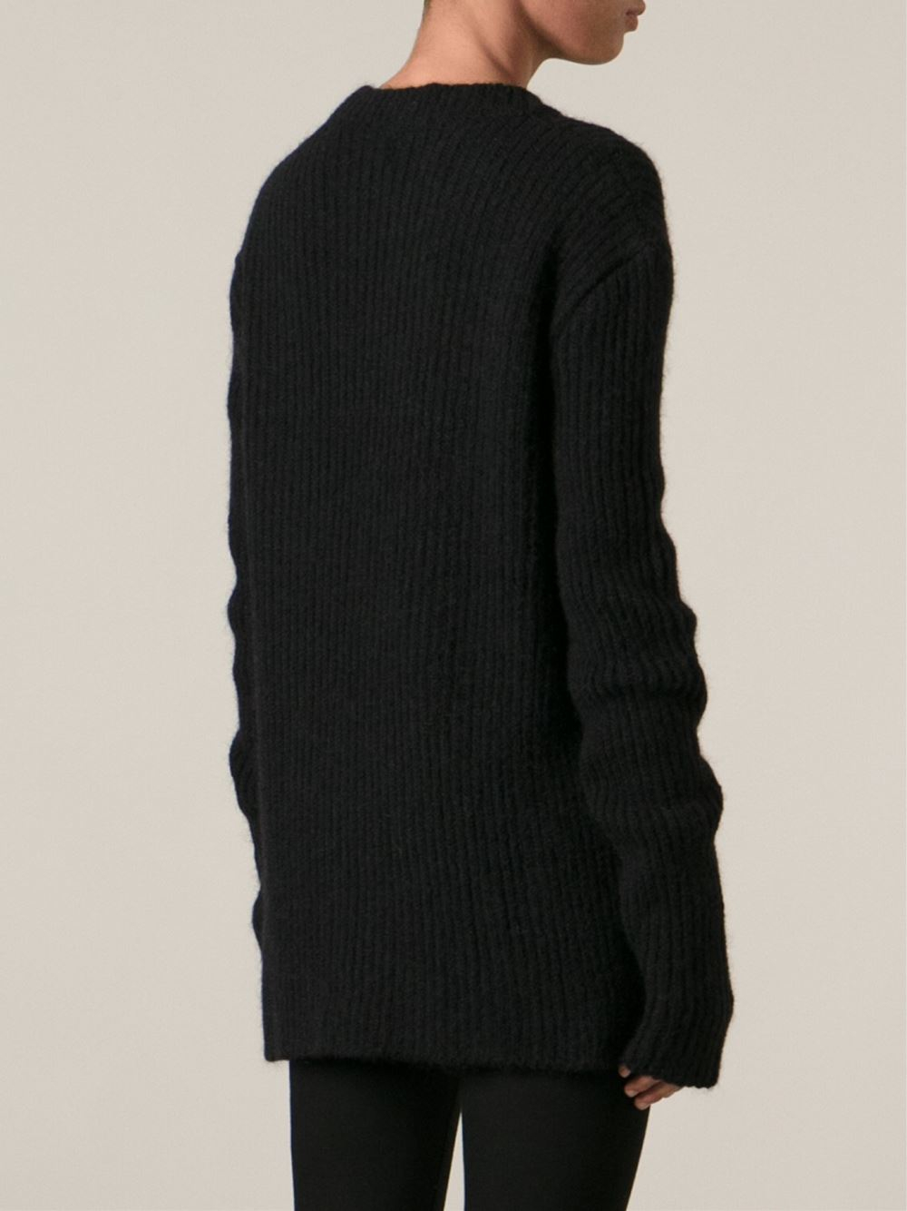 lyst haider ackermann ribbed sweater in black. Black Bedroom Furniture Sets. Home Design Ideas