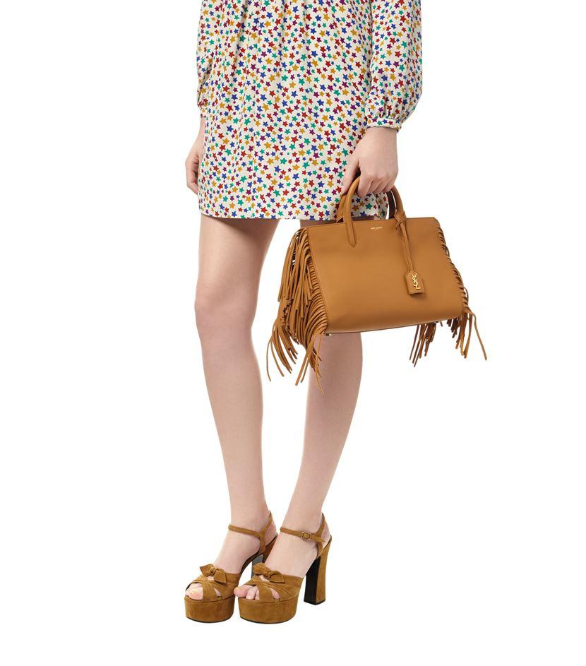 98a9c8d270 Saint Laurent Small Cabas Rive Gauche Fringe Bag in Brown - Lyst