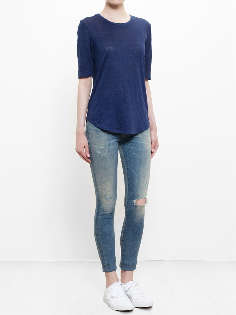 Lyst vince elbow sleeve t shirt in blue for Vince tee shirts sale