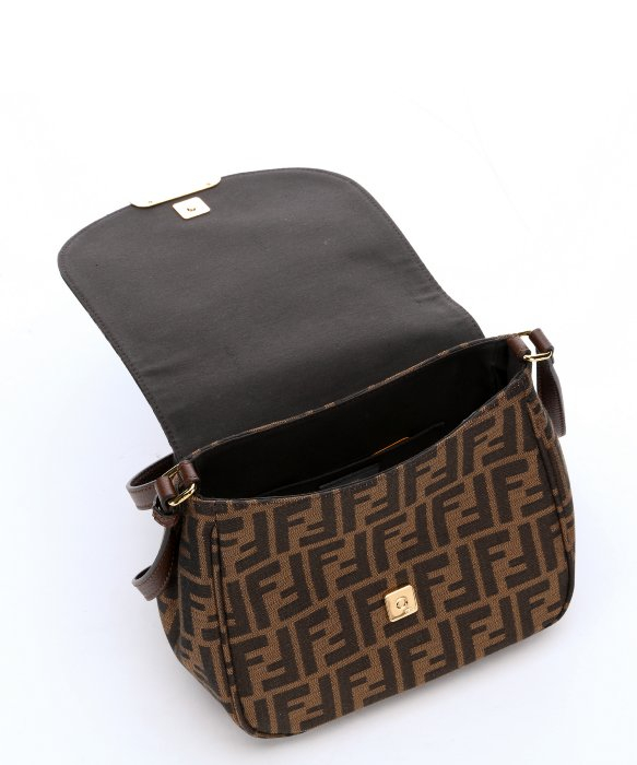 ... free shipping lyst fendi tobacco and nut zucca canvas crossbody bag in  brown cef70 70bf1 ... ea33049855227