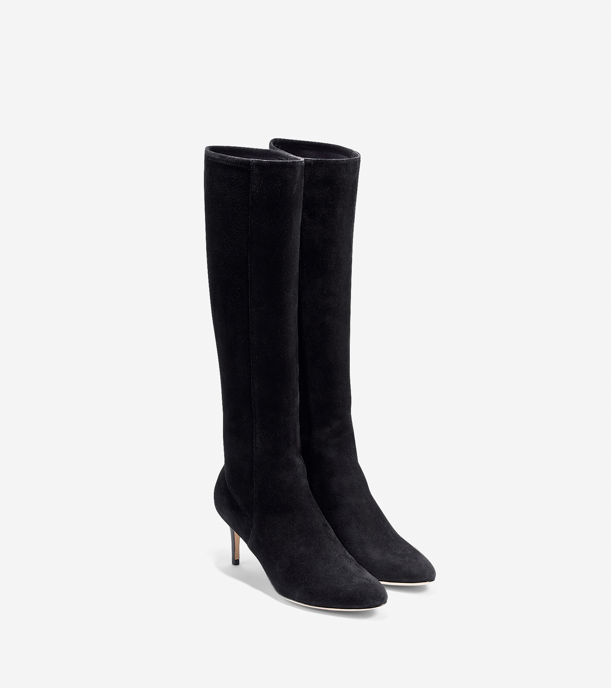 cole haan elisha stretch suede knee high boots in black lyst