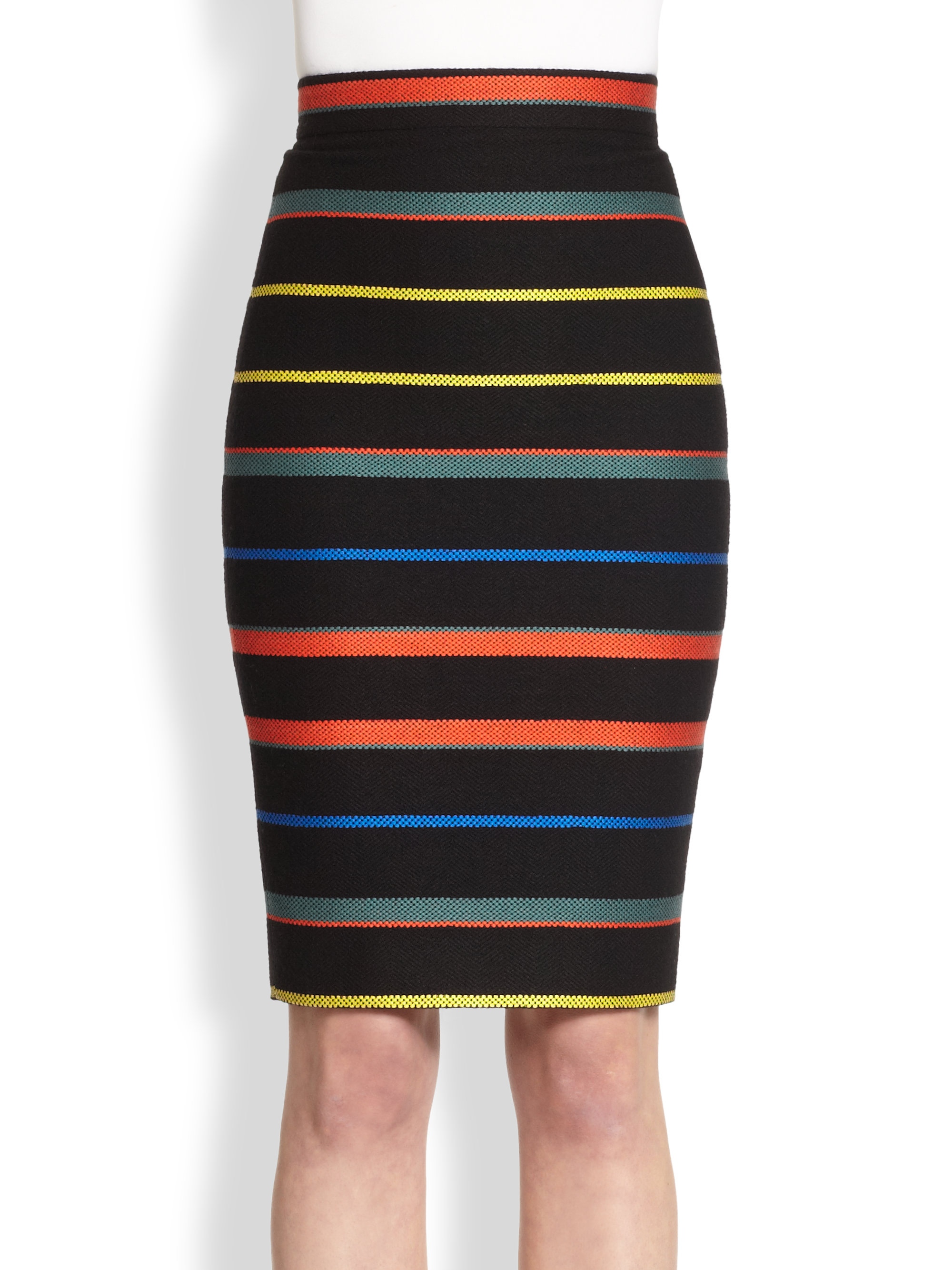Givenchy Knit Stripe Pencil Skirt in Multicolor | Lyst