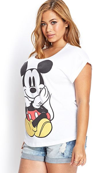 21 Mickey Mouse Nail Art Designs Ideas: Forever 21 Mickey Mouse Graphic Tee In White (Ivory/black