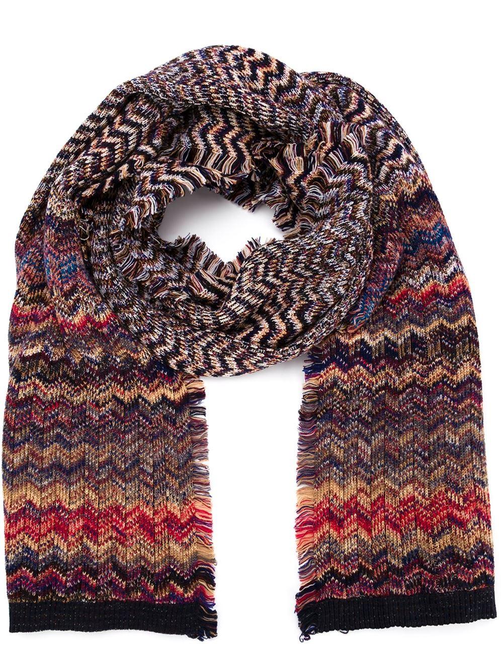 Crochet Zig Zag Scarf : Missoni Zig-zag Knit Scarf in Multicolor for Men Lyst