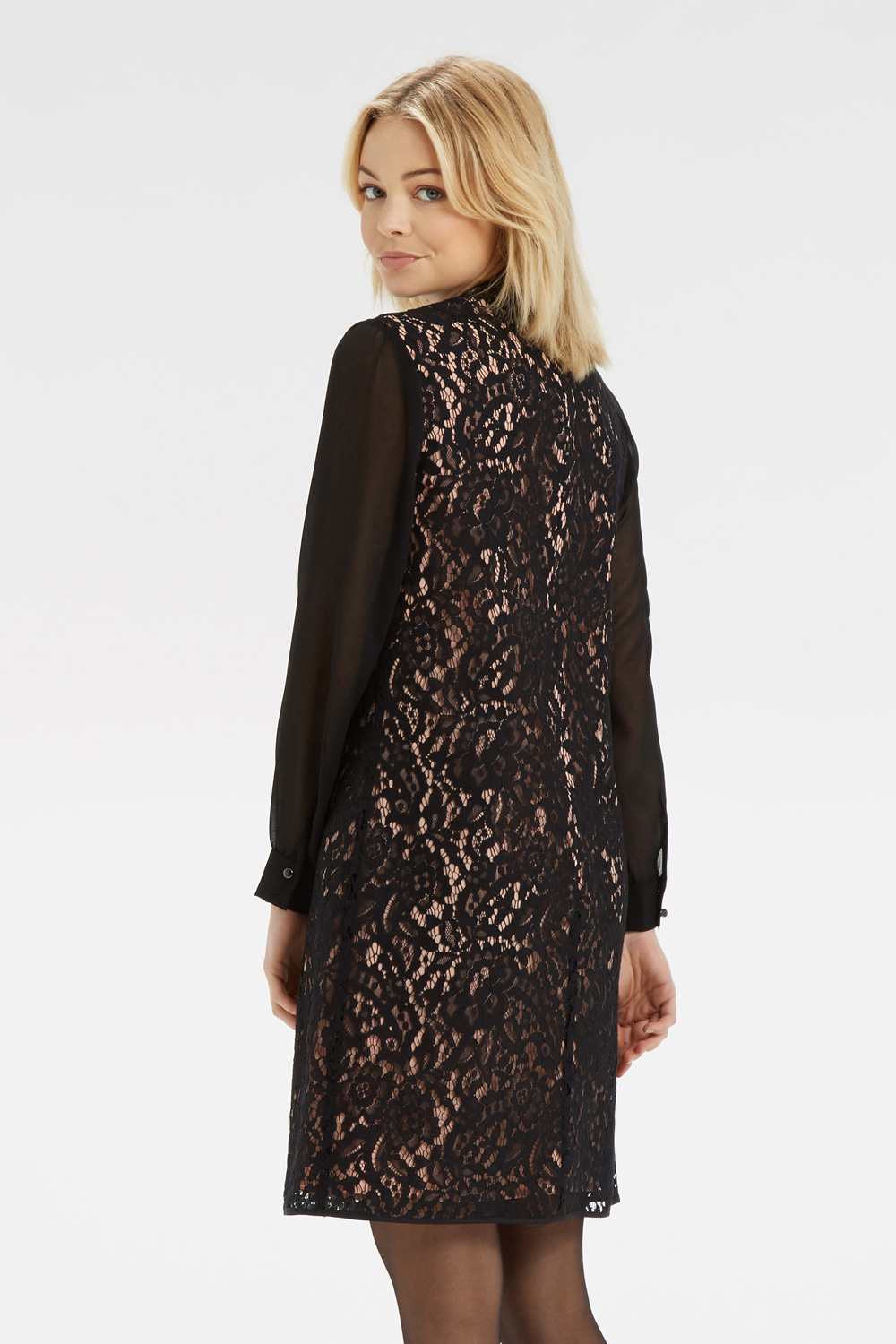 4719c7477945 Oasis Lace Chiffon Sleeve Dress in Black - Lyst