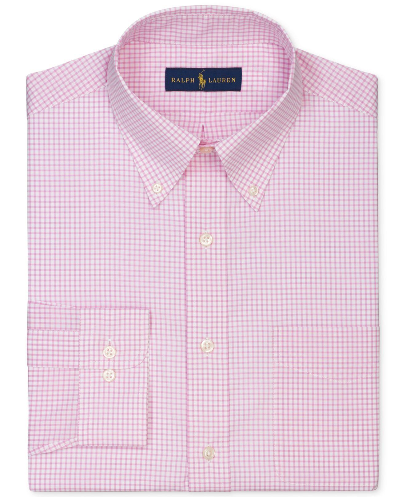 Polo ralph lauren gingham dress shirt in pink for men lyst for Men s red gingham dress shirt