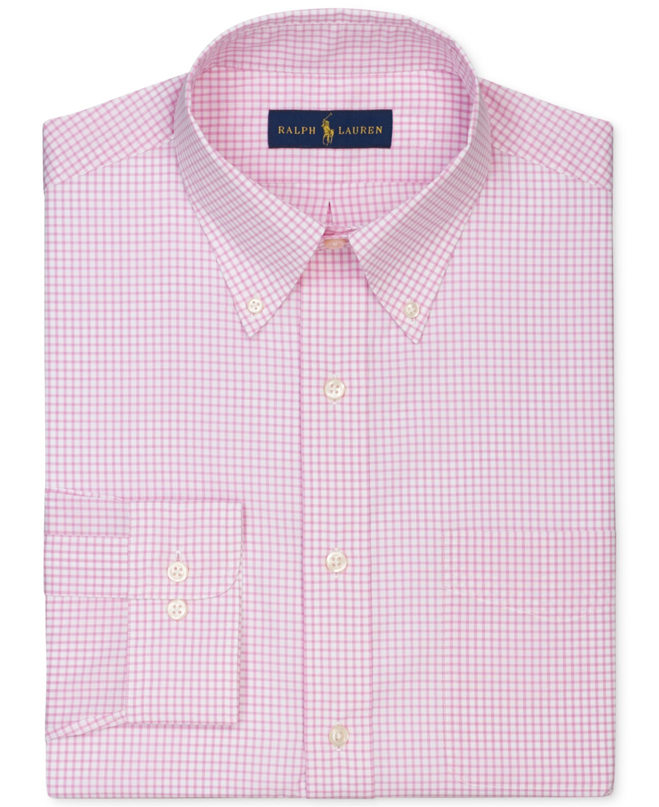 Polo ralph lauren gingham dress shirt in pink for men lyst for Pink checkered dress shirt