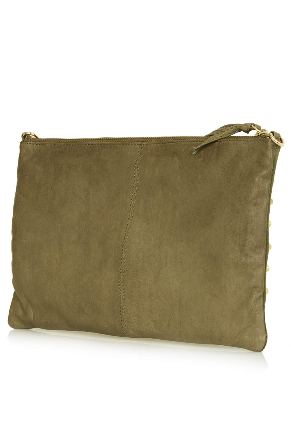 Topshop Studded Suede Clutch Bag In Khaki Natural Lyst