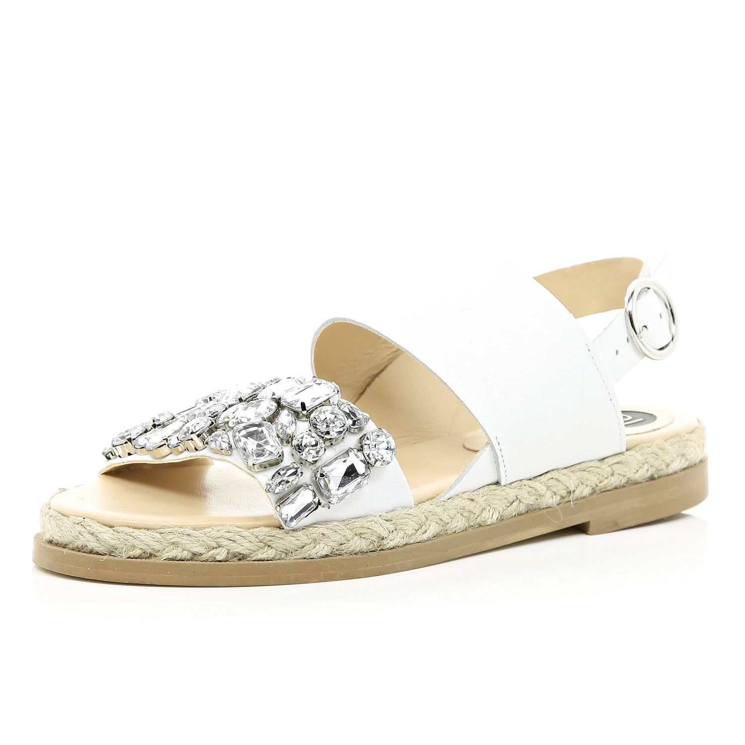 4dfa9defdf0 River Island White Embellished Espadrille Sandals in White - Lyst
