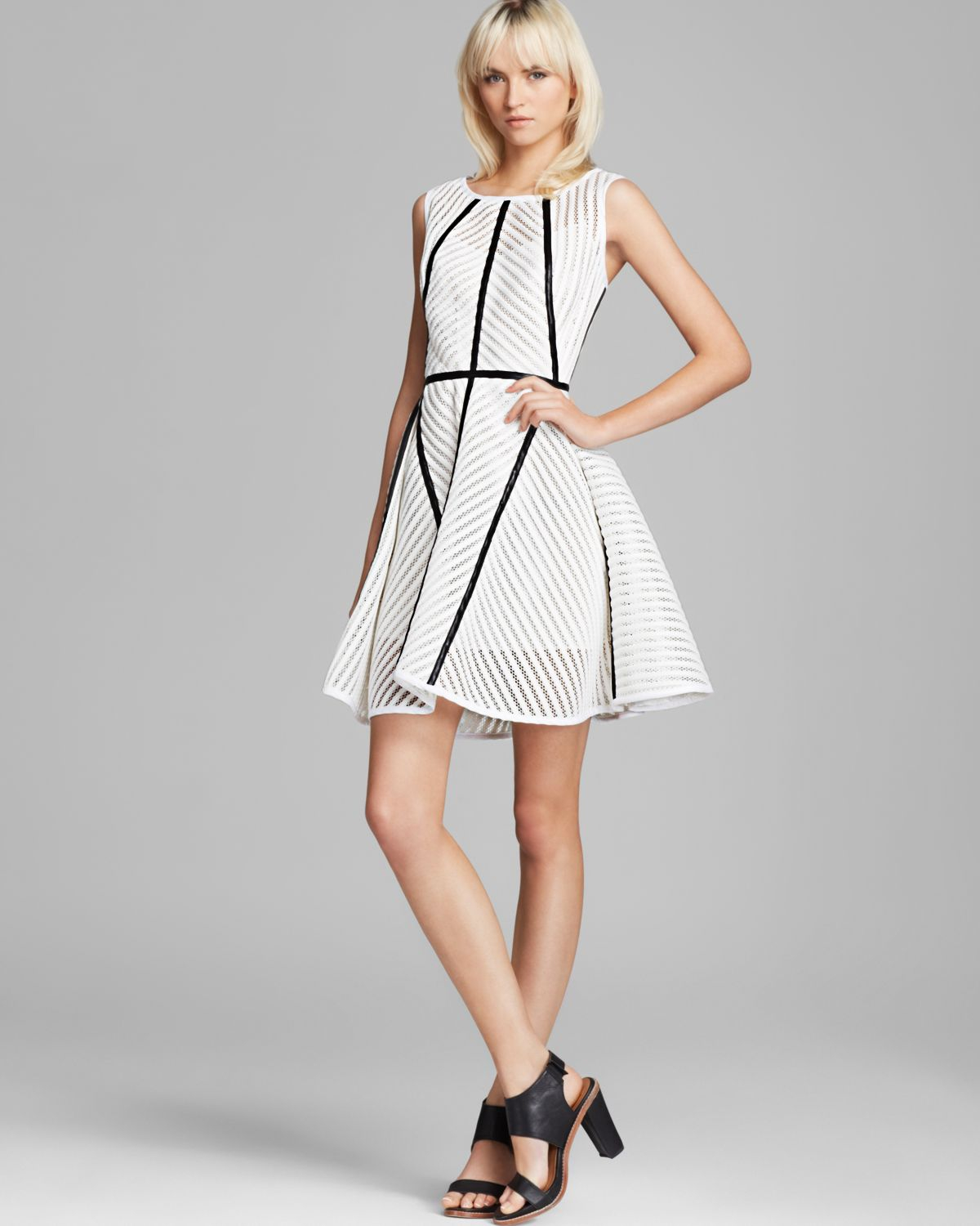 Milly Dress Architectural Seams In White Lyst