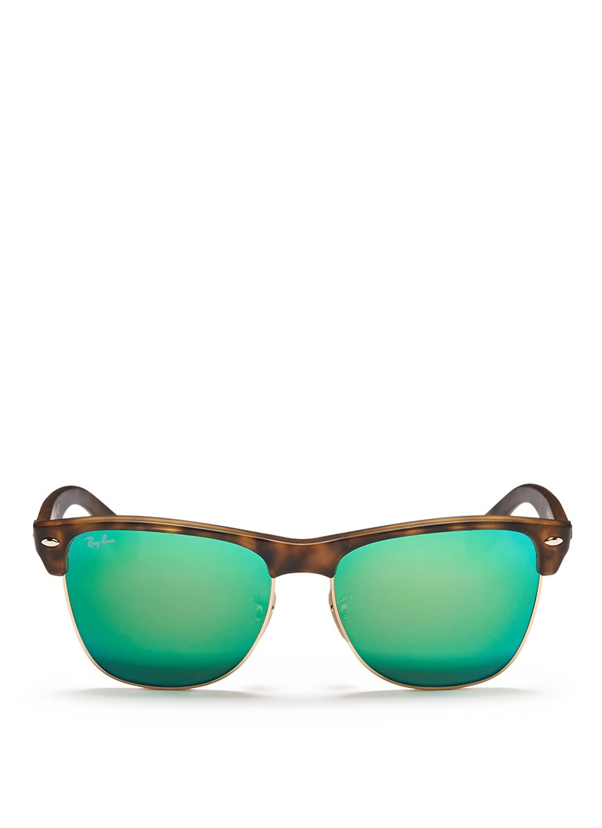 Lyst ray ban 39 clubmaster oversized 39 matte acetate for Mirror sunglasses