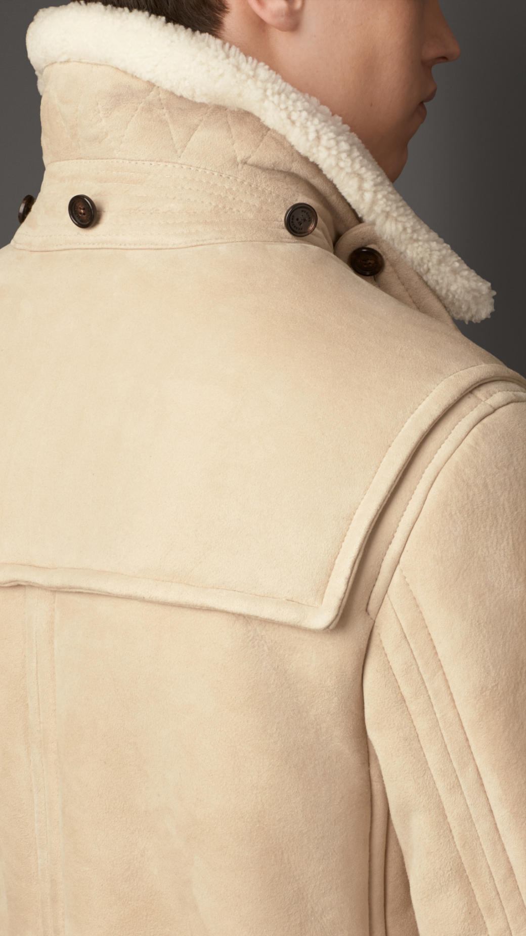 Burberry Heritage Detail Shearling Duffle Coat In Natural
