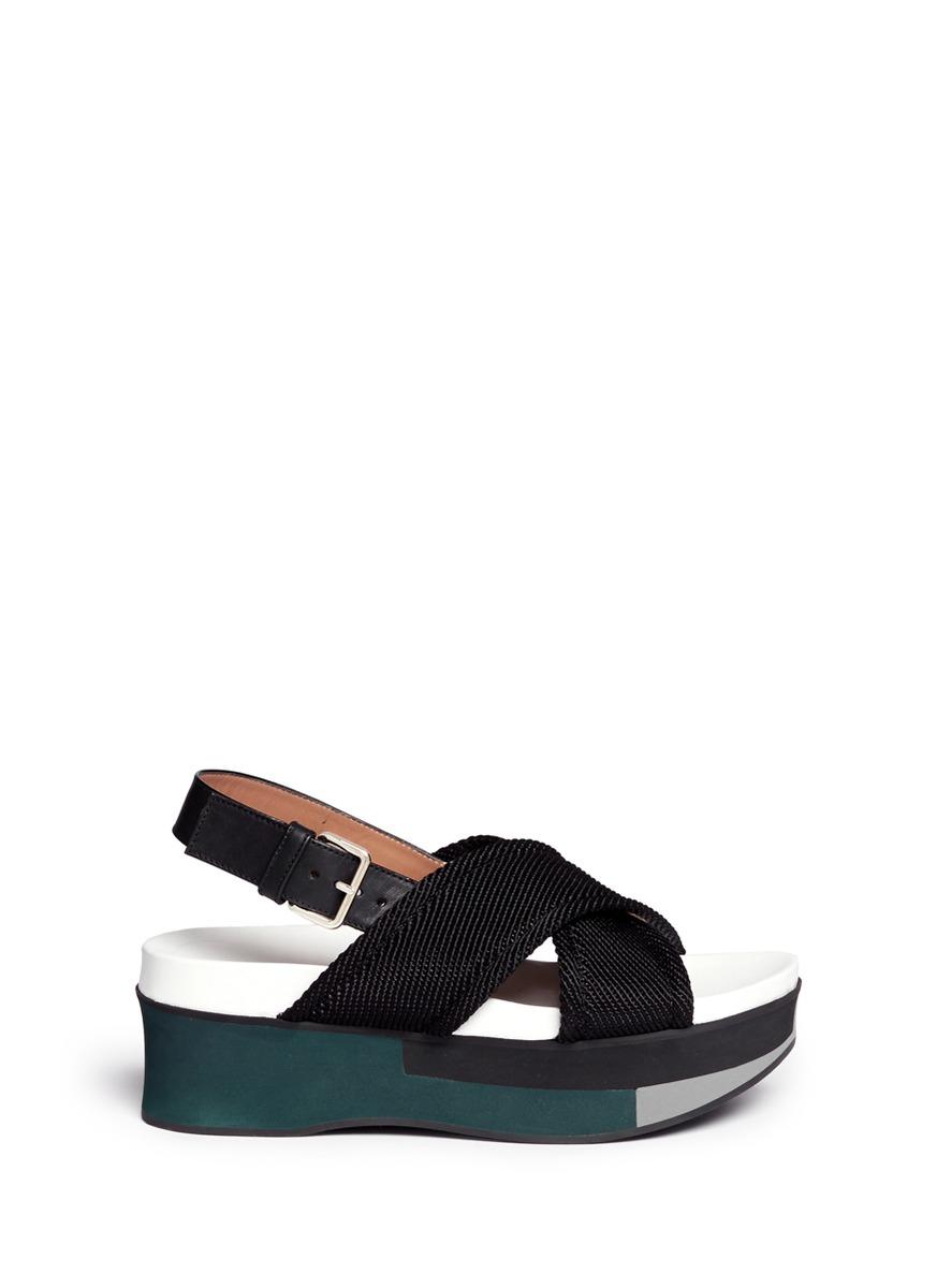 Lyst Marni Zeppa Crisscross Strap Flatform Sandals In