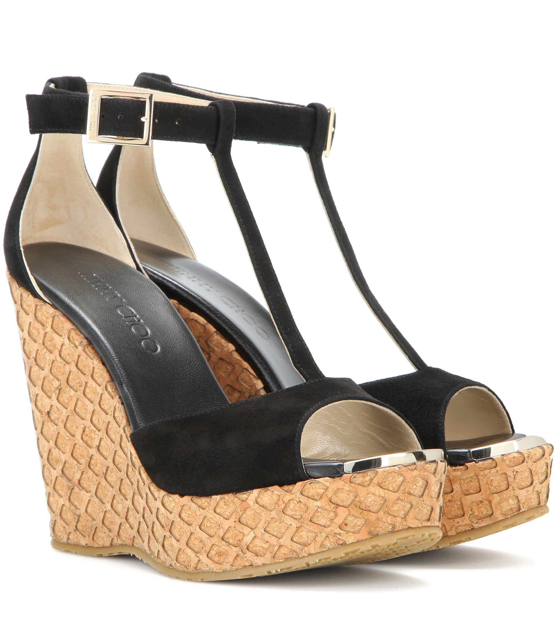 07d9f17a65b61 ... buy lyst jimmy choo portia suede wedge sandals in black 23284 fb9a9