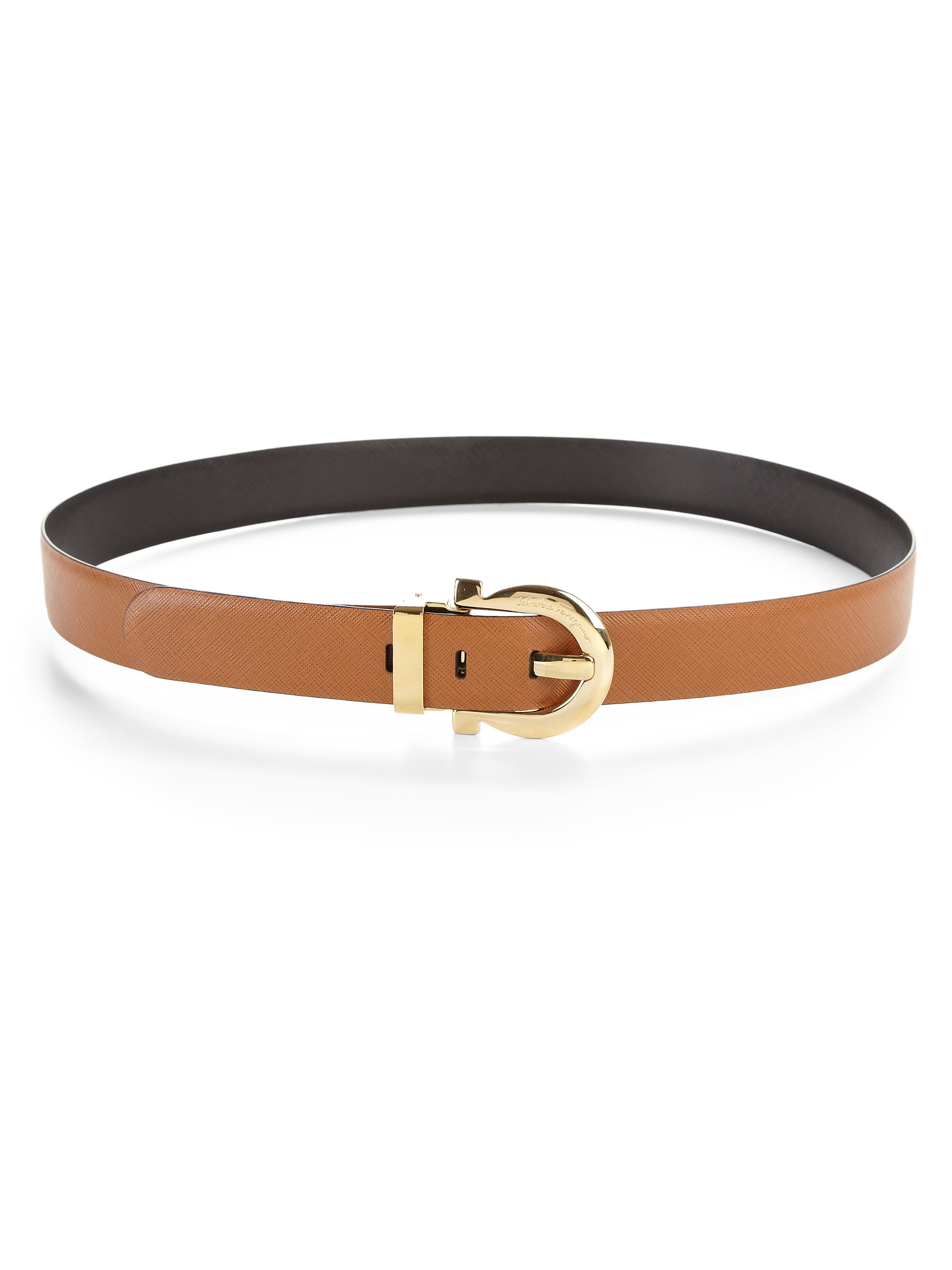 ferragamo leather belt in brown lyst