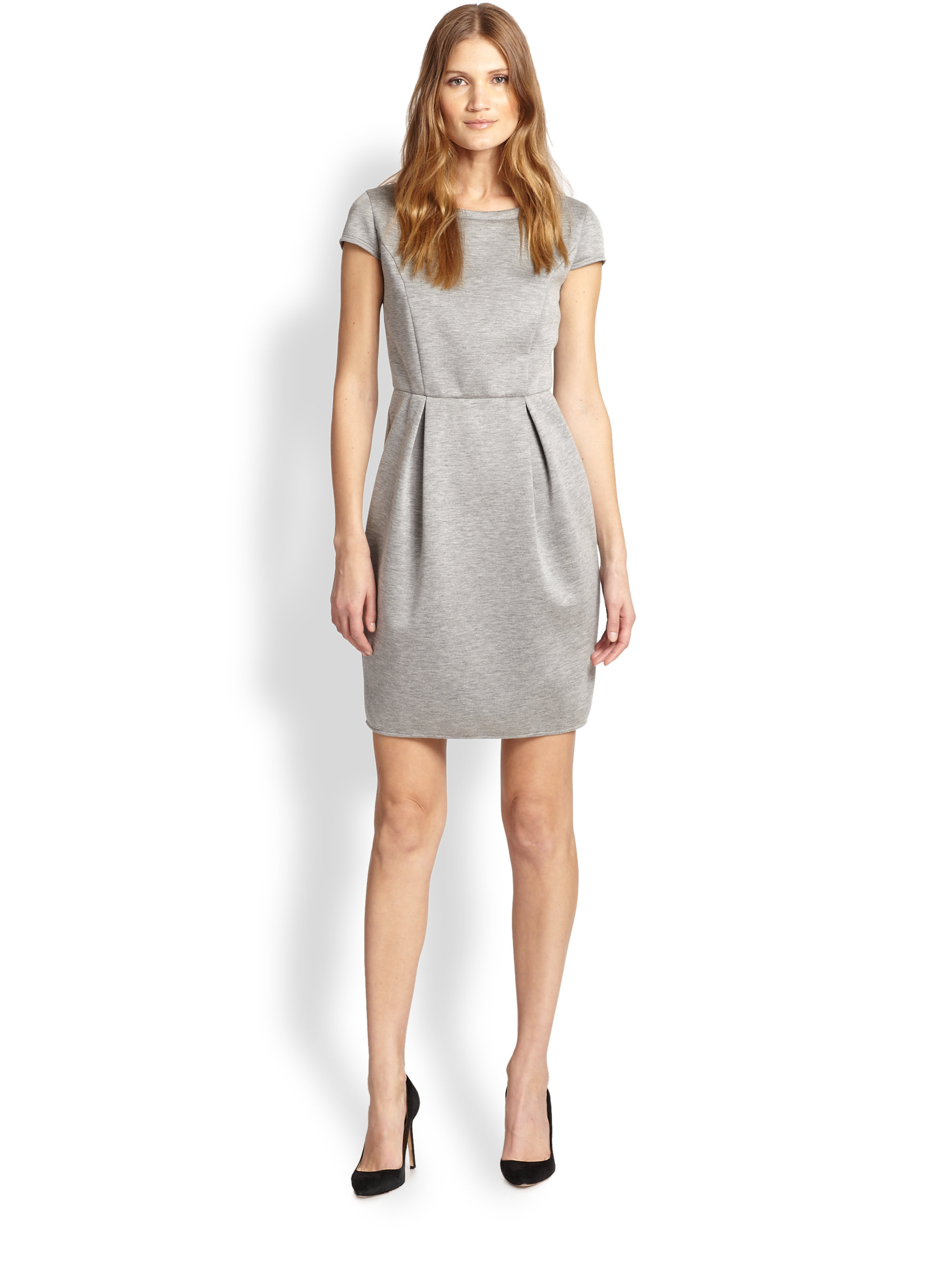 weekend by maxmara novak cap sleeve pleated dress in gray. Black Bedroom Furniture Sets. Home Design Ideas