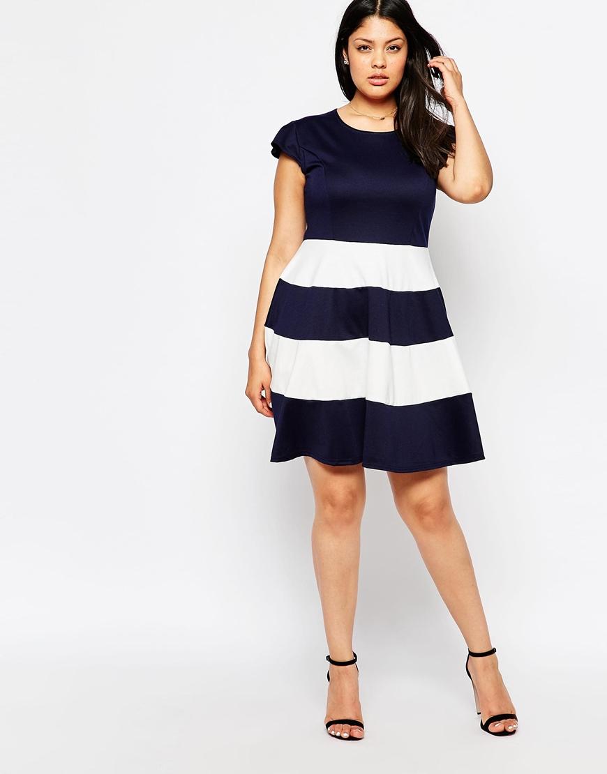 Lyst - Praslin Plus Size Skater Dress With Striped Skirt in Blue 25eddeac6c