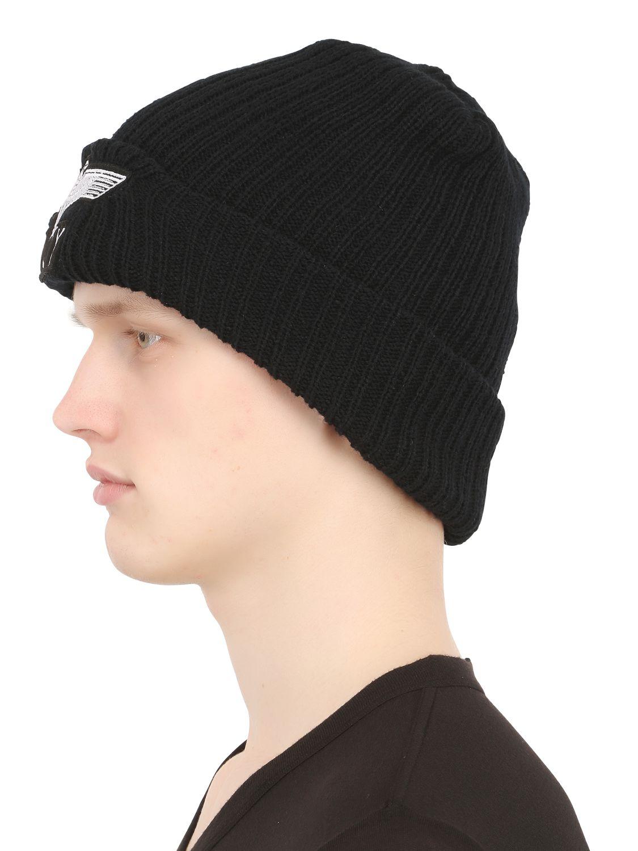 Lyst - BOY London Boy Wool Blend Knit Beanie Hat in Black for Men 3fc674973ad0